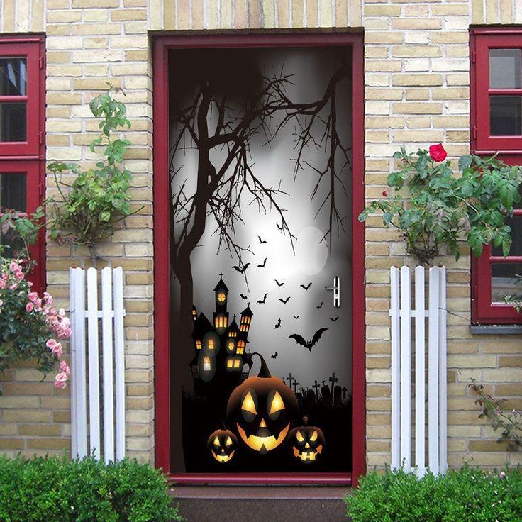 Pumpkin Halloween Decorations Door Stickers Self Adhesive