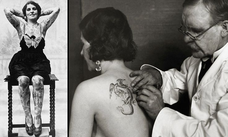 The original painted ladies: Vintage photographs reveal incredible head-to-toe tattoos on women in the Twenties, Thirties and Forties