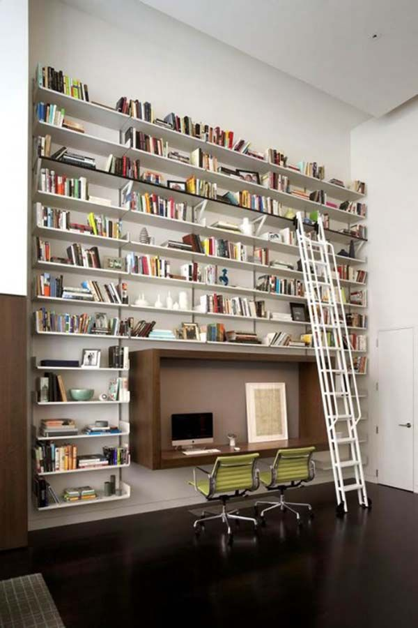 10 Outstanding Home Library Design Interior Bookcase With Ladder At Office