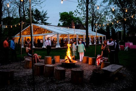 love the tent and bonfire - Anthony Wayne House