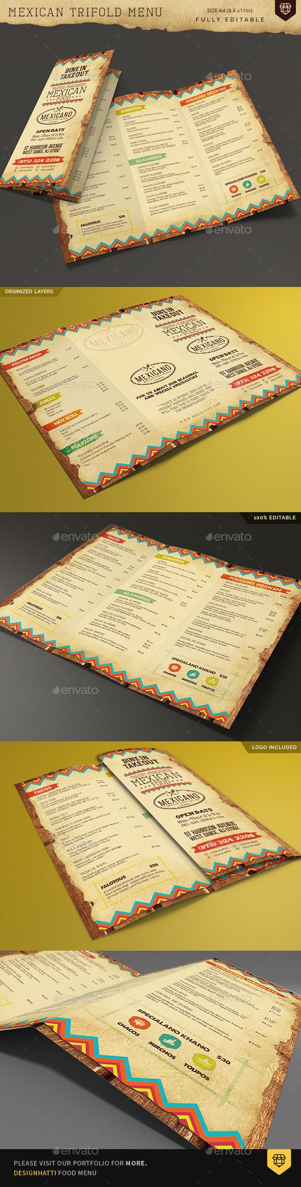 455 best trifold restaurant menu template images on pinterest trifold mexican food menu pronofoot35fo Choice Image