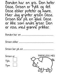 Lite arbeidsark om grisen. Lær mer om husdyr