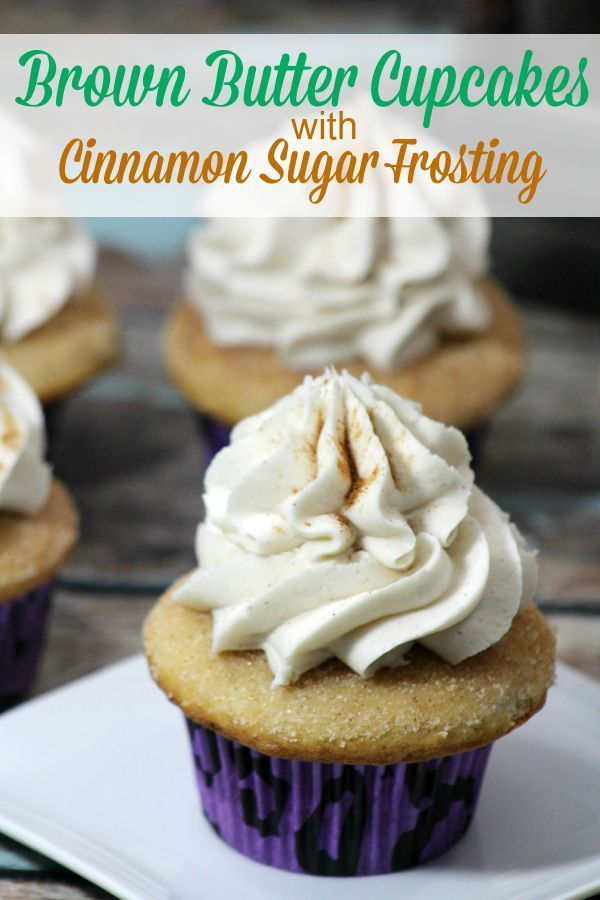 Brown Butter Cupcakes with Cinnamon Sugar Frosting from This Mama Loves