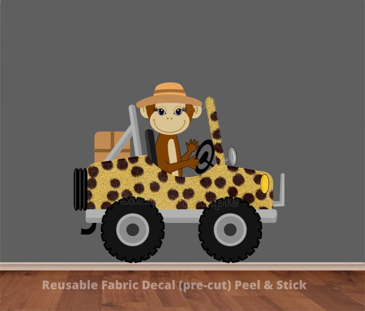 Monkey Driving Cheetah Prints Safari Jeep Wall Decal Sticker [an-0190] - $59.99 : Paintless Deco Impressions, Wall Decals, Canvas Prints and other Home Decor Store