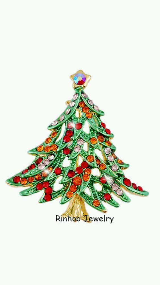 Sparkly Christmas tree brooch. Great stocking filler/secret Santa +UK SELLER+++