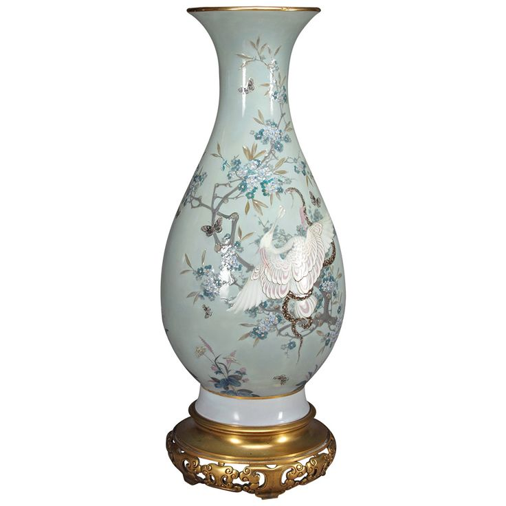 A French Sevres Porcelain Pate-Sur-Pate Celadon Ground Vase in Japanese Taste | From a unique collection of antique and modern vases and vessels at https://www.1stdibs.com/furniture/decorative-objects/vases-vessels/