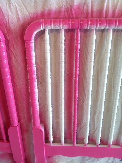 Repainting a crib.... http://julia-transition.blogspot.com/2012/06/how-i-painted-our-crib-pink.html