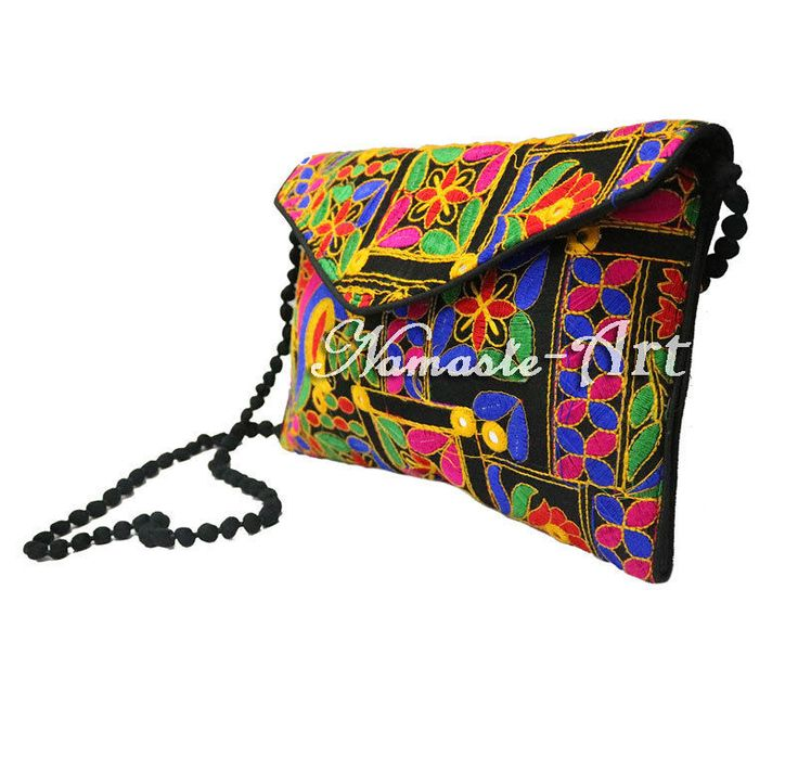 Indian Cotton Floral Design Beautiful Embroidery Handmade Mirror Work Clutch Bag #Unbranded #Clutch