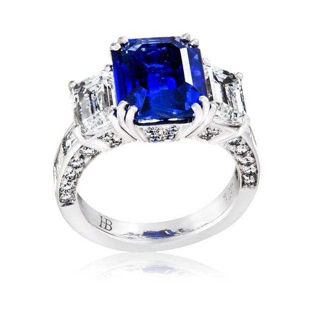 This astounding platinum hand make was made exclusively by Hardy Brothers Master Jewellers for their Vault Collection. The ring features an impressive 6.46 carat sapphire with 4.53 carats of diamond shoulder gems.