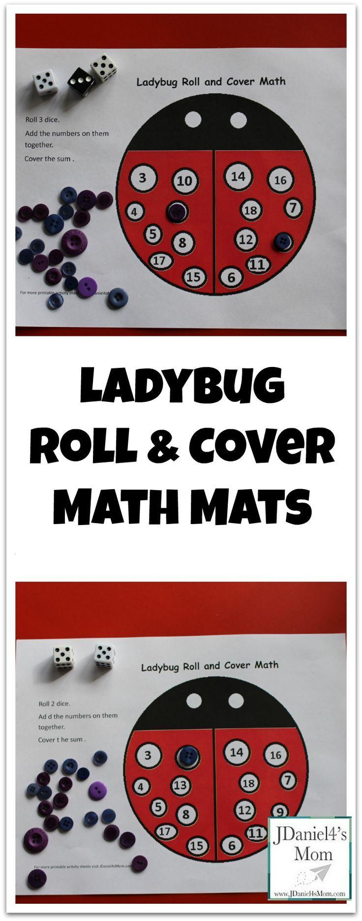 {Free Printable} Ladybug Roll and Cover Math Mats
