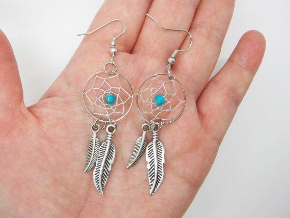 Dreamcatcher Earrings  / Feather Earrings /  Twilight Inspired /  Blue Bead Earrings / Native American Jewelry on Etsy, $9.50