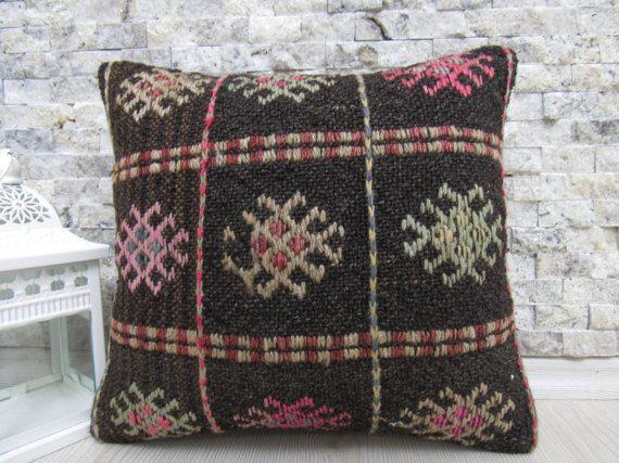 boho decorative pillow home decor 14 x 14 turkey pillow  ground coffee color overworked old worn decorative beautiful mattress