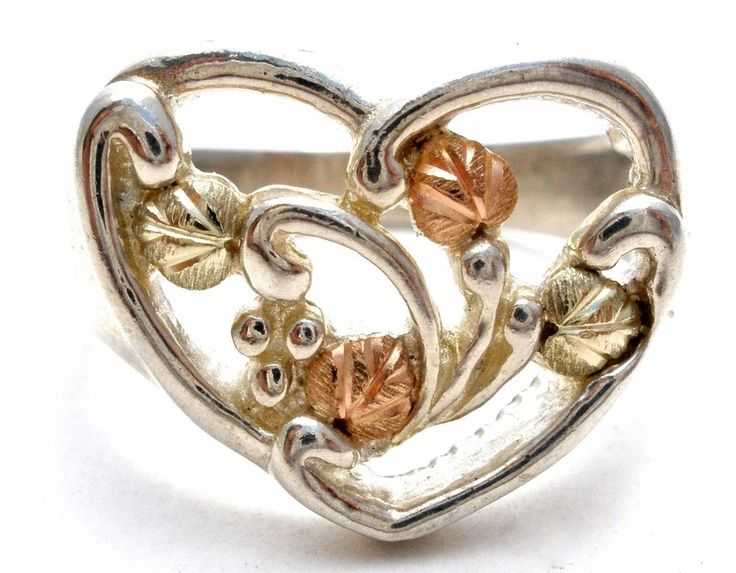 Black Hills Tri Gold Sterling Silver Heart Ring 12K CCO Vintage Size 6 Coleman  This is a sterling silver heart ring with 12k rose and yellow gold leaf accents.   It is a size 6, hallmarked 925 12K CCO for Coleman, measures .5 inch at widest point and weighs 5 grams. in Jewelry & Watches, Fine Jewelry, Fine Rings