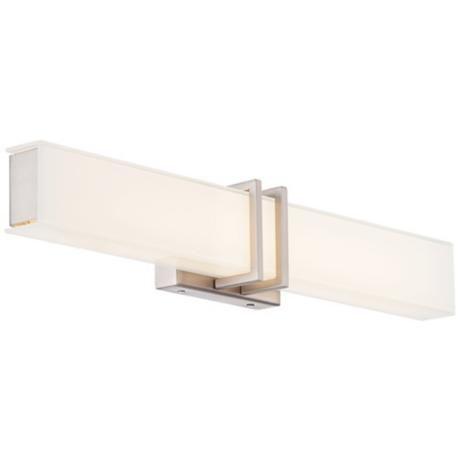 """Possini Euro Exeter 24"""" Wide LED Nickel Bathroom Light"""