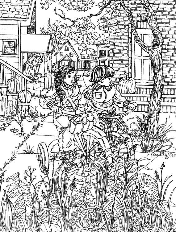 """Stampa pagina istantanea di colorazione, piccoli amici, penna disegno, bambini che giocano, bici, """"Un Picturebook al colore"""" per adulti, adolescenti, bambini"""