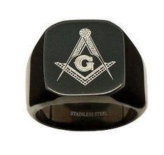 Black Flat Face Stainless Steel Freemason Masonic Ring / Free Mason Masonry Members C Masonic Jewelry,