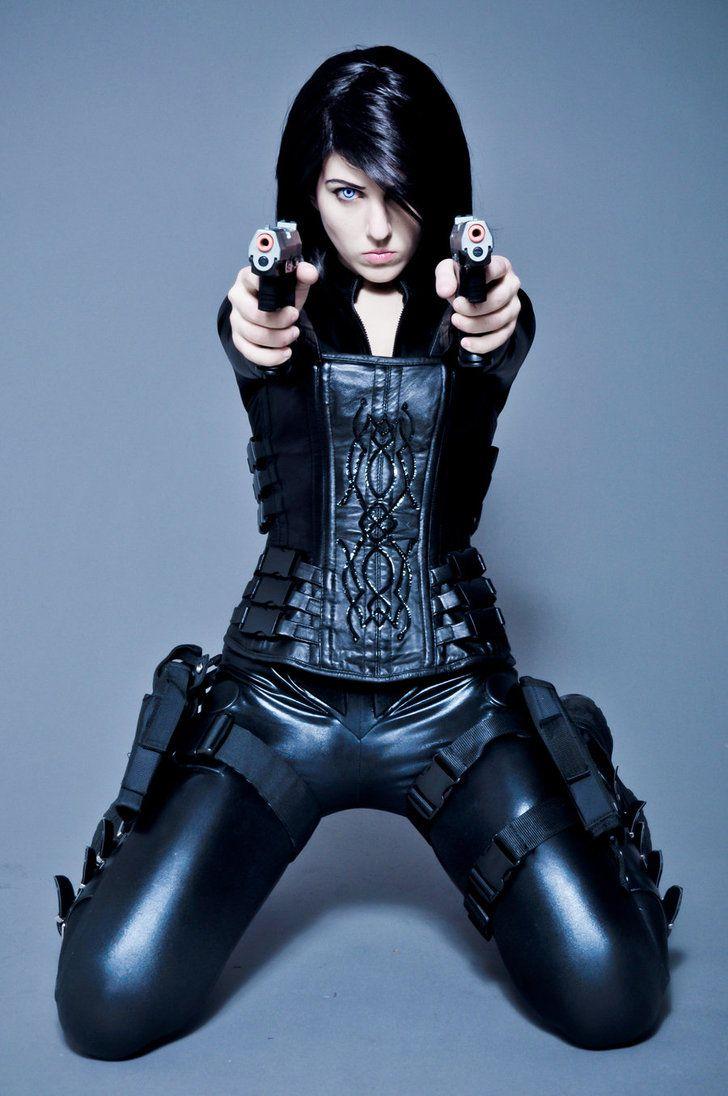 future girl girl with guns futuristic clothing girl in black futuristic style halloween costumescosplay - Tough Girl Halloween Costumes