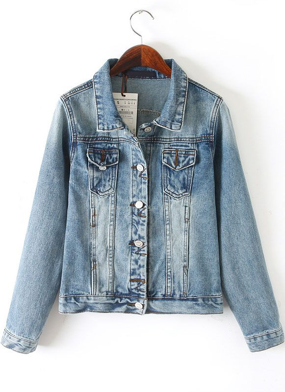 Shop Blue Lapel Long Sleeve Bleached Denim Jacket online. SheIn offers Blue Lapel Long Sleeve Bleached Denim Jacket & more to fit your fashionable needs.