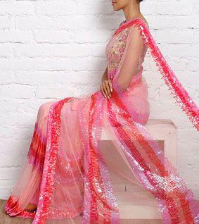 Pink Net Sequined Saree