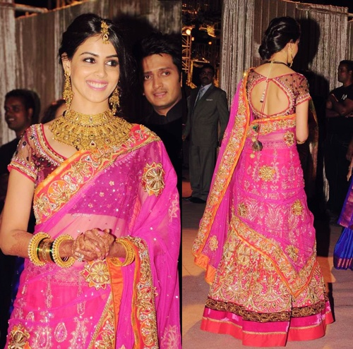 Genelia D'souza in Beautiful Lehenga at one of her wedding ceremonies with Ritesh Deshmukh (Both are Bollywood Actors)
