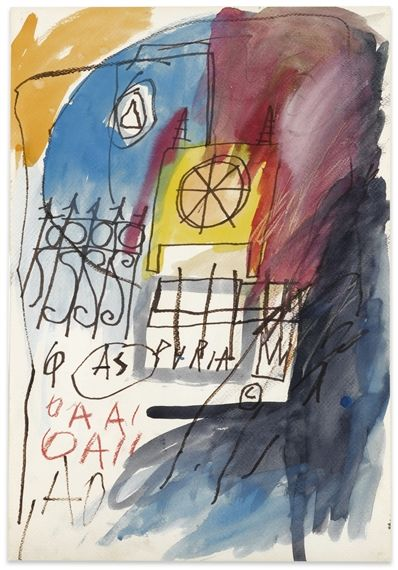 Jean Michel Basquiat, UNTITLED, Made of watercolor and oilstick on paper