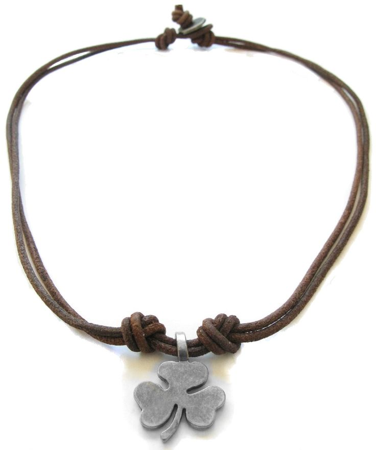 Leather Necklace Lucky Clover Leather Necklace for men or women