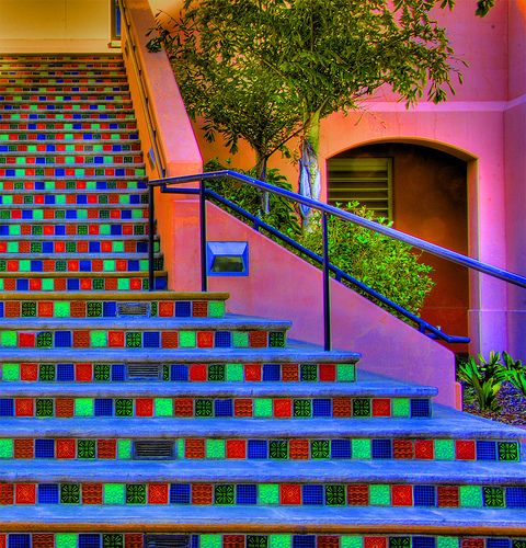 Colorful stairway on one of the buildings on the UCSB campus, Isla Vista, California near Santa Barbara.