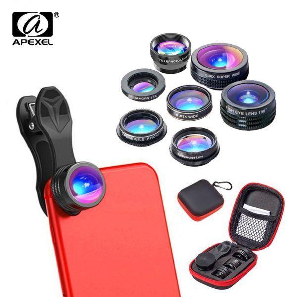 Apexel 7in1 Mobile Lens Combo Pack Phone Camera Lens Phone Lens Smartphone Accessories