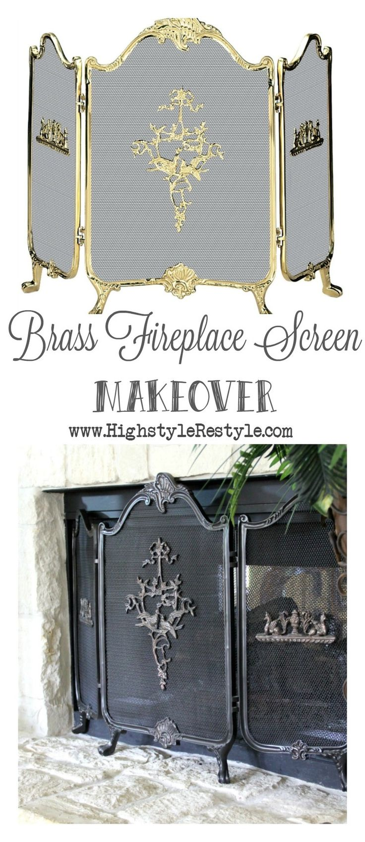 Easy, Brass Fireplace Screen Makeover — Highstyle ReStyle  http://www.highstylerestyle.com/blog/brass-fireplace-screen-makeover