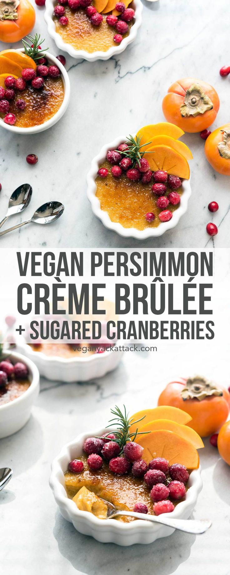 Looking for a stunning holiday dessert that is easy-to-make? Check out this impressive, vegan Persimmon Crème Brûlée with Sugared Cranberries! Made with Silk's Vanilla Almond Creamer. ♡