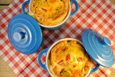 Een lekker recept voor een tweetal één persoons quiches met prei, ui en paprika. Of andere groenten natuurlijk!