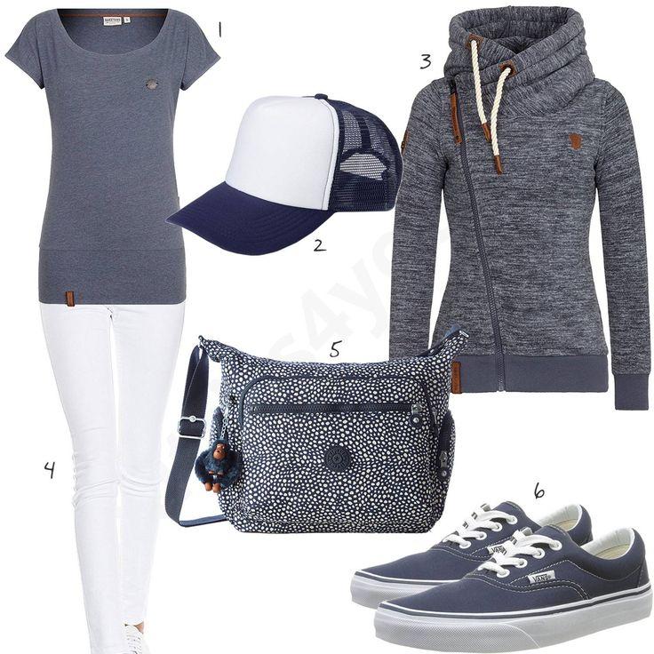 Blau-Weißer Stil für Damen mit Naketano T-Shirt und Hoodie mit schrägem Zipper, Mesh Cap, Kipling Handtasche, weißer Only Jeans und blauen Vans Sneakern. #outfit #style #fashion #womensfashion #womensstyle #womenswear #clothing #frauenmode #damenmode #handtasche  #inspiration #frauenoutfit #damenoutfit