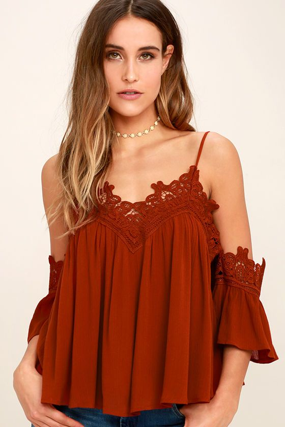 Show your love for lace with the Daily Devotion Rust Red Lace Off-the-Shoulder Top! Skinny straps support an off-the-shoulder neckline, and fluttering short sleeves, trimmed in looping crochet lace. Gauzy woven fabric flows into a cropped bodice.