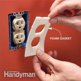 Use foam gaskets to seal electrical boxes; just one of many tips to help save energy/cost.
