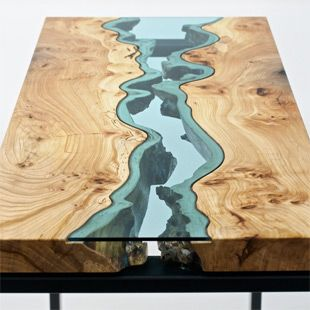 Table Topography: Wood Furniture Embedded with Glass Rivers and Lakes by Greg Klassen