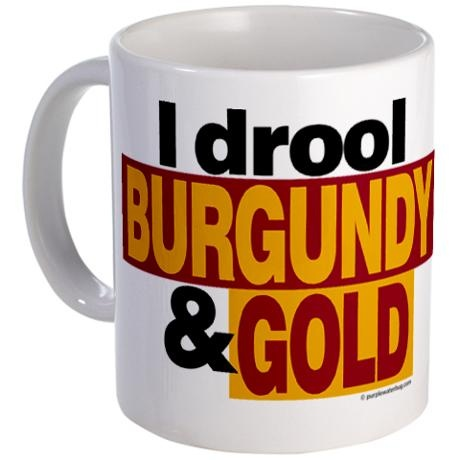 """I drool burgundy & gold"" Redskins mug"