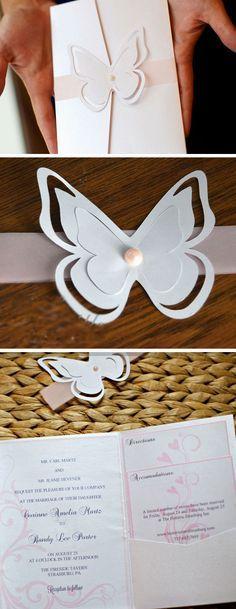 Silhouette Butterflies DIY Winter Wedding Invitations