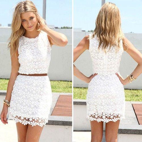 Fashion Rundhals ärmellos Hollow-Out Spitze Kleid - weiß - Fashion Kleider - Kleidung