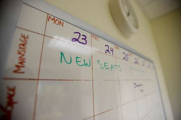 A calendar in the Flynn's administrative offices marks the dates of construction relating to the installation of new seats, paint and carpets. (via Burlington Free Press)