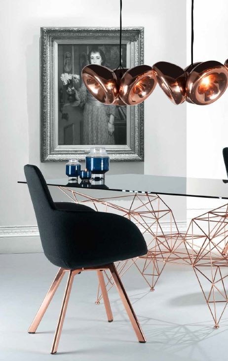 Not so much in love with the lights, but that table and Scoop High chair by Tom Dixon.... Nice