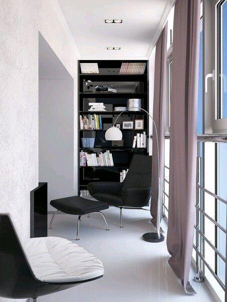 Балкон. Лампа. Полка. Кресла. Окна. Цветовое решение