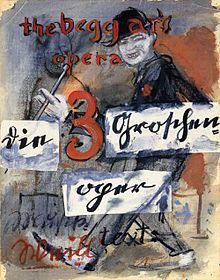 """The Threepenny Opera / a """"play with music"""" by Bertolt Brecht, adapted from German dramatist Elisabeth Hauptmann's translation of John Gay's 18th-century English ballad opera, The Beggar's Opera, with music by Kurt Weill and insertion ballads by François Villon and Rudyard Kipling. The work offers a Socialist critique of the capitalist world. It opened on 31 August 1928 at Berlin's Theater am Schiffbauerdamm."""