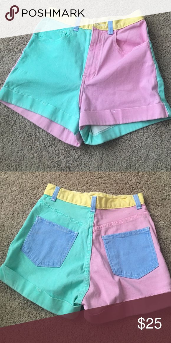 American Apparel high waisted neon shorts Never worn, new without tags, size 26/27 American Apparel Shorts Jean Shorts