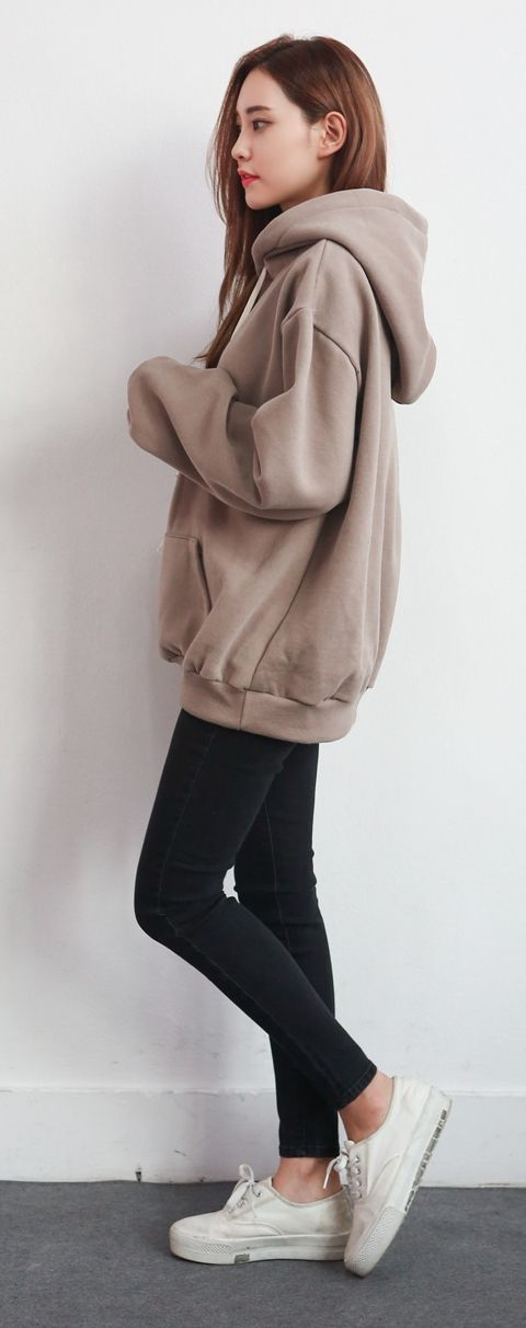 #Winter #Outfits / Brown Hoodie – White Sneakers