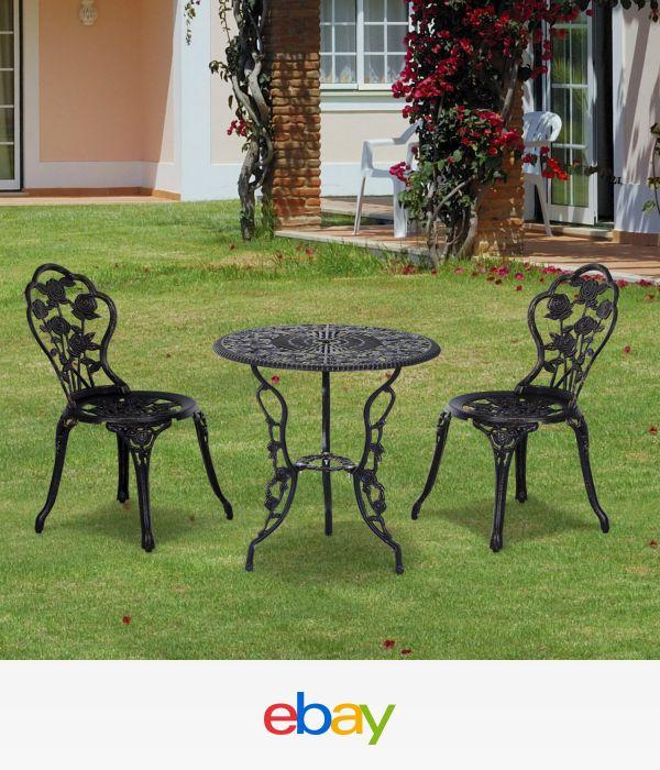 Details about Outsunny 3pc Outdoor Patio Furniture Cast Aluminum Bistro Set  in Antique Bronze