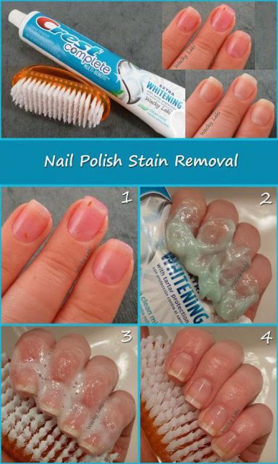 <p>Wat je nodig hebt: een witmakende tandpasta en een nagelborsteltje of oude tandenborstel. Borstel hiermee over je nagels en restjes en vlekken zullen helemaal weg zijn.</p>