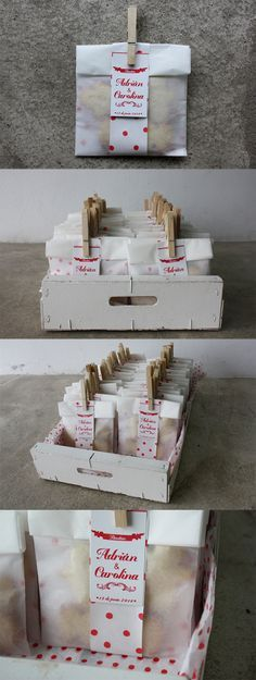 Packaging creado para un detalle de bautizo de galletas caseras. DIY creado por Que tono de verde, la caja de frutas pintada también se la dejamos al cliente. Original, diferente y comestible...