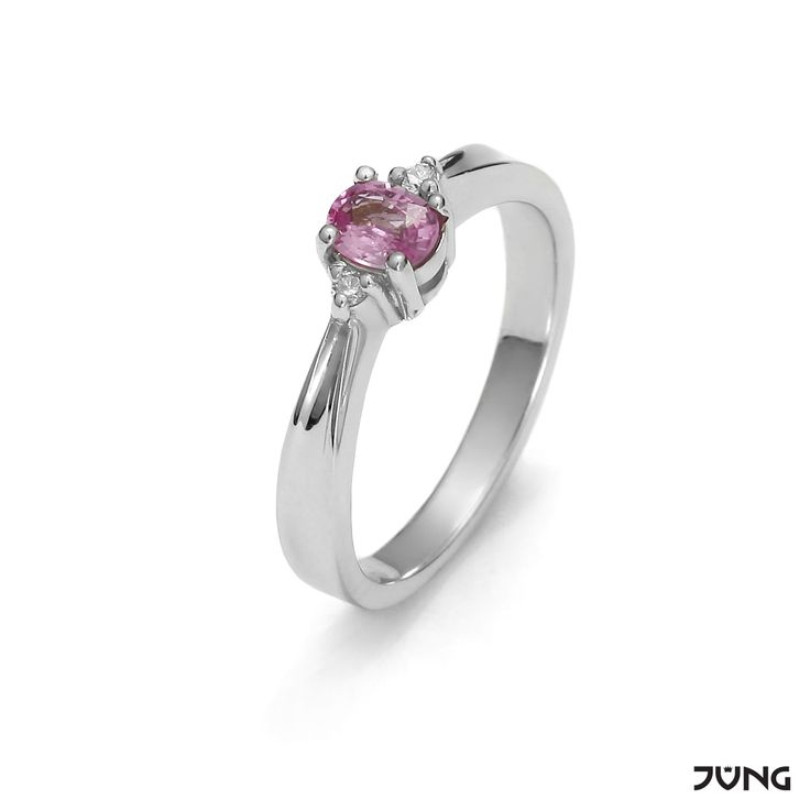 white gold ring with pink sapphire and 2 diamonds