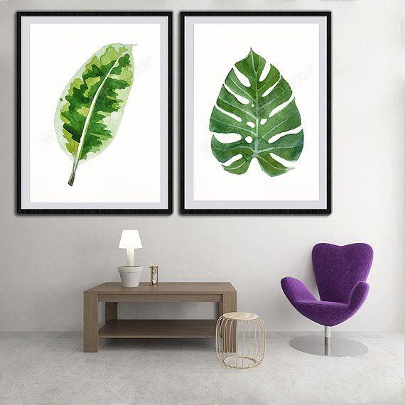 Tropical Leaf Watercolor Art Prints - Set of 2 Green Leaves Prints- Palm Leaf Botanical Art Wall Decor Office Decor Birthday Gift