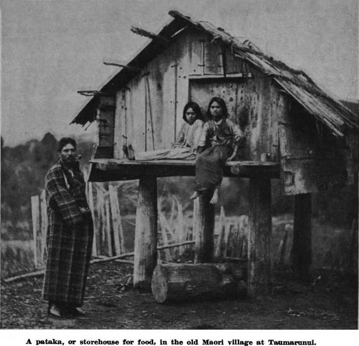 A pataka, or storehouse for food, in the old Maori village at ...
